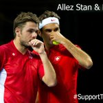It will be @rogerfederer and @stanwawrinka in doubles today! Allez les gars, wir stehen hinter euch! #SupportTheSwiss http://t.co/JokbTGeEMH
