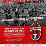 Hoy es el gran día!!  @sportingsm en la Gran Final de la LPF. Vamos todos al estadio a respaldar a los académicos http://t.co/cQqWyIMRYm