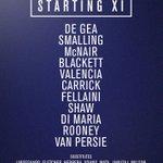 #mufc XI: De Gea, Smalling, McNair, Blackett, Valencia, Carrick, Fellaini, Shaw, Di Maria, Rooney, van Persie. http://t.co/IJZhOmgvs7