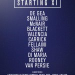 #mufc XI: De Gea, Smalling, McNair, Blackett, Valencia, Carrick, Fellaini, Shaw, Di Maria, Rooney, van Persie. http://t.co/2m8hs0uUFw