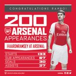 Congratulations to @aaronramsey who makes his 200th #Arsenal appearance today #AFCvMUFC http://t.co/jBere8lifS