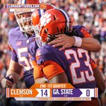 END OF 1st QUARTER: Clemson 14, Georgia State 0. Both Tiger scores were rushing TDs by Tyshon Dye. #GSUvsCLEM http://t.co/cuaOokkFm1