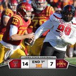 At the end of the 1st quarter, Texas Tech leads Iowa State 14-7. http://t.co/iG3M7TyA7U