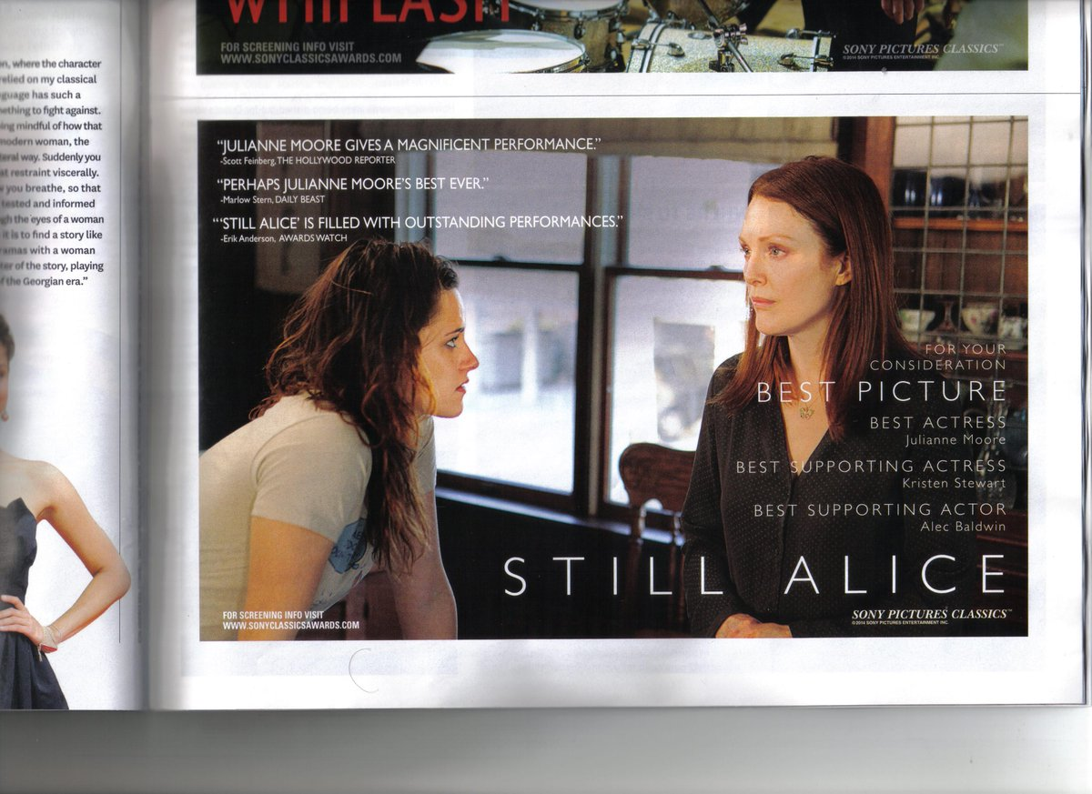 #StillAlice #FYC ad in @THR print edition 11/28/14 @_juliannemoore #KristenStewart http://t.co/fGrsANP6XO