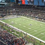 Crowd estimate for @alleneagles v. @DesotoFB is 30,000. Were tied at 14 at the half. #txhsfb http://t.co/IBDIzCDFEE