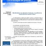 Nouveau bilan manif #Toulouse par @PrefetMidiPy : 16 interpellés. #Sivens http://t.co/EfUYJoZcFS