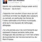 Manif : le maire de #toulouse @jlmoudenc espère la sévérité de la justice pour les auteurs de dégradations #sivens http://t.co/Fzw6INrMQP