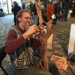 Artist Lloyd Klassen of Klassen Fine Woodworking hand carving a sculpture at the @NSDCC show #halifax #art #buylocal http://t.co/X1GqHVYVgo
