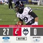 #Bearcats lead 27-0 over UConn at halftime. http://t.co/Qpo6ijHClg