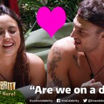 Can you see sparks flying between @NadiaForde &@JakeQuickenden or is it just a game? #ImACeleb http://t.co/g93xMTWsOq http://t.co/6YFdiieqkc