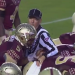 VIDEO: Jameis Winston shoves a referee, somehow doesn't get flagged http://t.co/NoHUrX2QlY http://t.co/ZksFubPClq