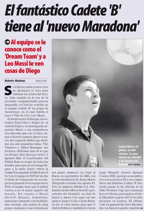 El récord de Leo es un poco de @romartinez70 él fue el primero en escribir del crack y referirse a él como nuevo D10S http://t.co/7SFGyuDEnN