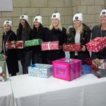 The Lady Leafs helping out with The Shoebox Project. #MLSEshoeboxlove http://t.co/8tLqEoyzzm