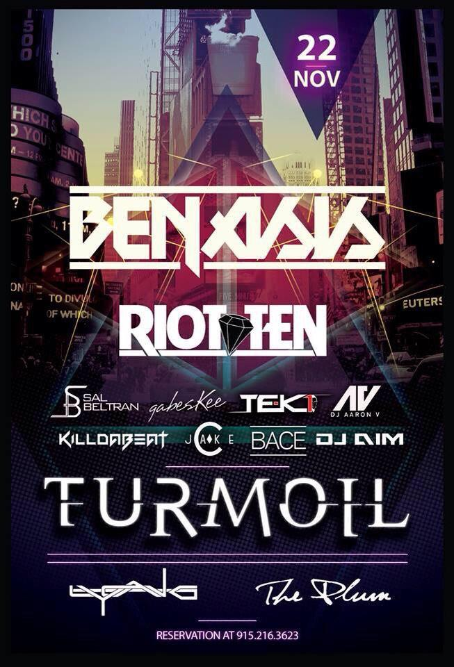 Excited to welcome headliners @RiotTenMusic and @OfficialBenasis! Another round of TURMOIL going down tonight! http://t.co/eCSdO2RfAp