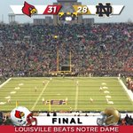 What a game! @UofLFootball beats Notre Dame in their first ever meeting! #L1C4 http://t.co/KkSP1T551l
