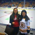 Montreals @NikkiMTL, in #Habs shirt, has #Bruins-clad @landeskoging at TD Garden tonight as a human shield #HabsIO http://t.co/UDp3MqaIL9