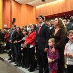 At @JustinTrudeau nomination Papineau tonight joined by Margaret, Sophie and the kids #cdnpoli #papineau http://t.co/3ZNS1Y7Oqk