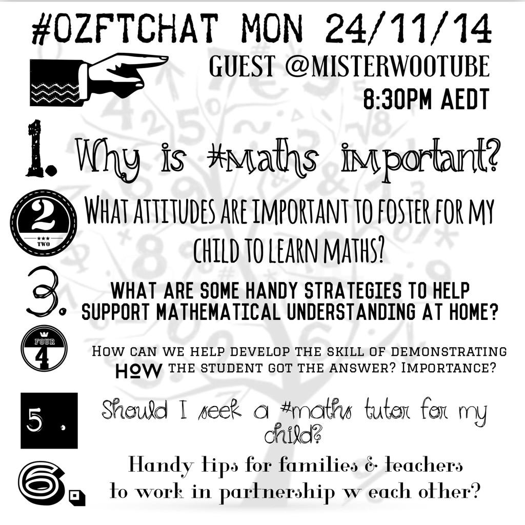 """""""@Ozftchat: Mon 24/11 #ozftchat focuses on #maths with special guest @misterwootube http://t.co/WFvzWX4vK2"""""""