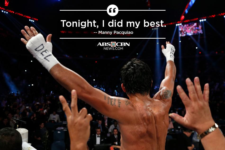 'Tonight, I did my best.' -- Manny Pacquiao Our updated story here: http://t.co/NPA9bebpZB  http://t.co/i0JpZOnS2S (via @ABSCBNNewsSport)
