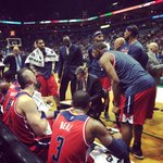 #Wizards huddle up before the fourth quarter with a four point lead. #WizBucks http://t.co/ZnX4xY1I8k