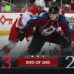 End of 2nd: #Canes 3, #Avs 2. Shots: CAR 19, COL 19. #CARvsCOL http://t.co/jUSdecTiaM