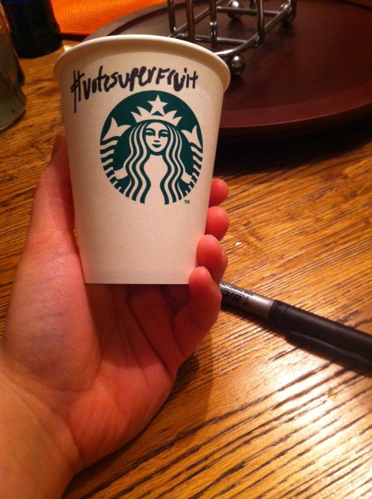 Starbucks spelled my name wrong again ugh so annoying #VoteSuperfruit http://t.co/yL81g9dWaM