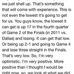"The full LeBron ""fragile"" quote including a flashback to his 2011 Finals loss to the Dallas Mavericks. http://t.co/TbL6hOffKv"