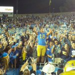 Thomas Duarte celebrates with the #UCLA student section after @UCLAFootballs 38-20 win over USC. #GoBruins http://t.co/s9emPfNpR8