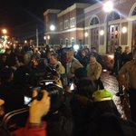 Protestors forcing police back next to Ferguson Police Department: http://t.co/3a8j6I6oEL