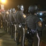 The riot police are back out at Ferguson PD despite all protesters being off the road http://t.co/7bAD2JXZIe