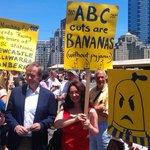 Awesome cranky Bananas @vanbadham @AnnieneStockton & @EmilyMillane strutting their stuff with @billshortenmp #OurABC http://t.co/ftcG5UbO4B