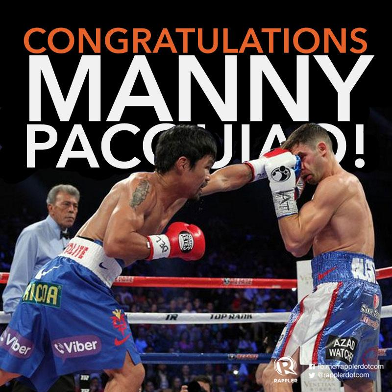 BREAKING: @MannyPacquiao wins by unanimous decision! #PacAlgieri http://t.co/h7UehFqKFh http://t.co/wgYJJraqEx