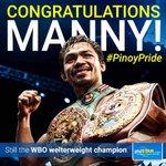 Congratulations @MannyPacquiao ! #PinoyPride #PambansangKamao #PacMan https://t.co/QpHWmVUp7C