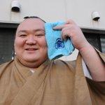 <千秋楽の様子>宝マークの入ったタオルで汗をふく、宝富士。呼出 照矢さんからのプレゼントだそうで「今場所はこのタオルのおかげで勝てた!」とコメント。◎一月場所の先行予約→http://t.co/8NA6OUaGyY  #sumo http://t.co/6BYT6NUgDc