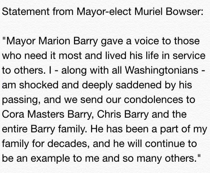 Our thoughts and prayers go out to the family of Mayor Marion Barry. http://t.co/kpi0hJDffh