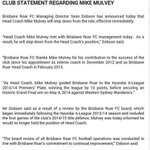 .@brisbaneroar officially confirm the sacking of coach Mike Mulvey through this statement | http://t.co/t142EMK7YA http://t.co/Y8ngV8lq0R