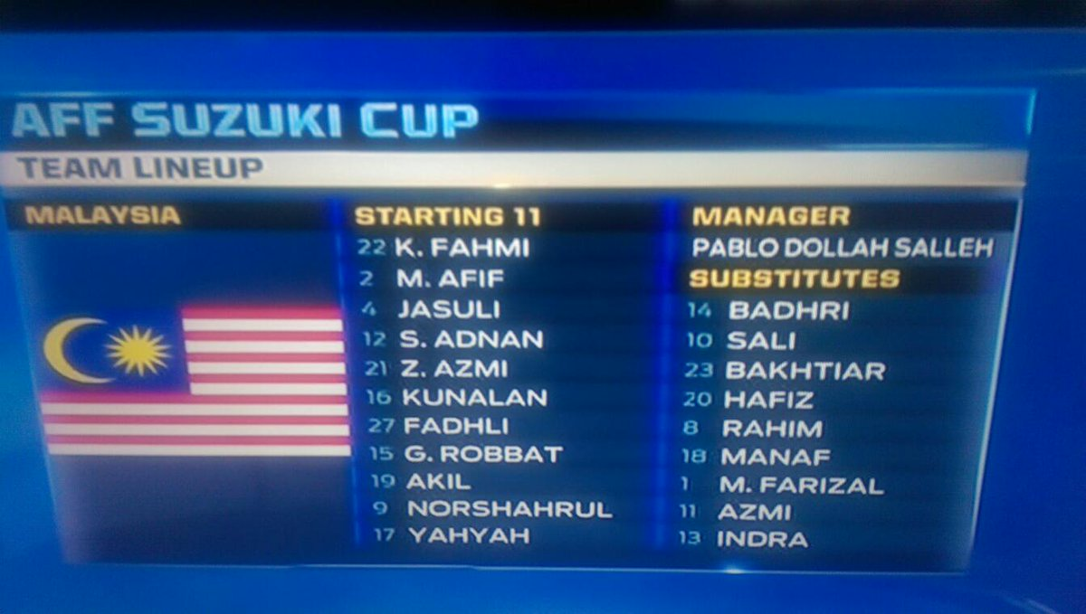 Apparently our national coach is Pablo Dollah Salleh! #AFFSuzukiCup #teammalaysia @ultrasmalaya07 http://t.co/dHyvgFp13p