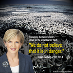 """Julie Bishop doesnt """"believe"""" the reef is in danger. All that coral bleaching - just our imaginations! #AusPol http://t.co/gDfoRhcWV6"""