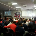 The @LibertyFootball team awaits the selection show results! http://t.co/LsCiQfdFSK