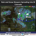 """Rain/Snow spreading southward this morning. North winds gusting to 45 mph. Quick 2"""" possible. #cowx http://t.co/yvH9stBBgx"""