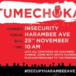 #OccupyHarambeeAve lets quote president Uhuru on our placards,after every attack he issues threats to terrorists. http://t.co/RaxDzAESBH