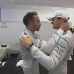 Great moment between the Mercedes duo before Hamilton went out on to the podium. #AbuDhabiGP #SkyF1 http://t.co/McfArQ6Ahy