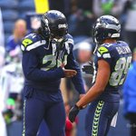 #Seahawks RB Marshawn Lynch, left, greets teammate WR Doug Baldwin, face #AZCardinals in 15m from #Seattle #NFL http://t.co/v3E0ZLryPE