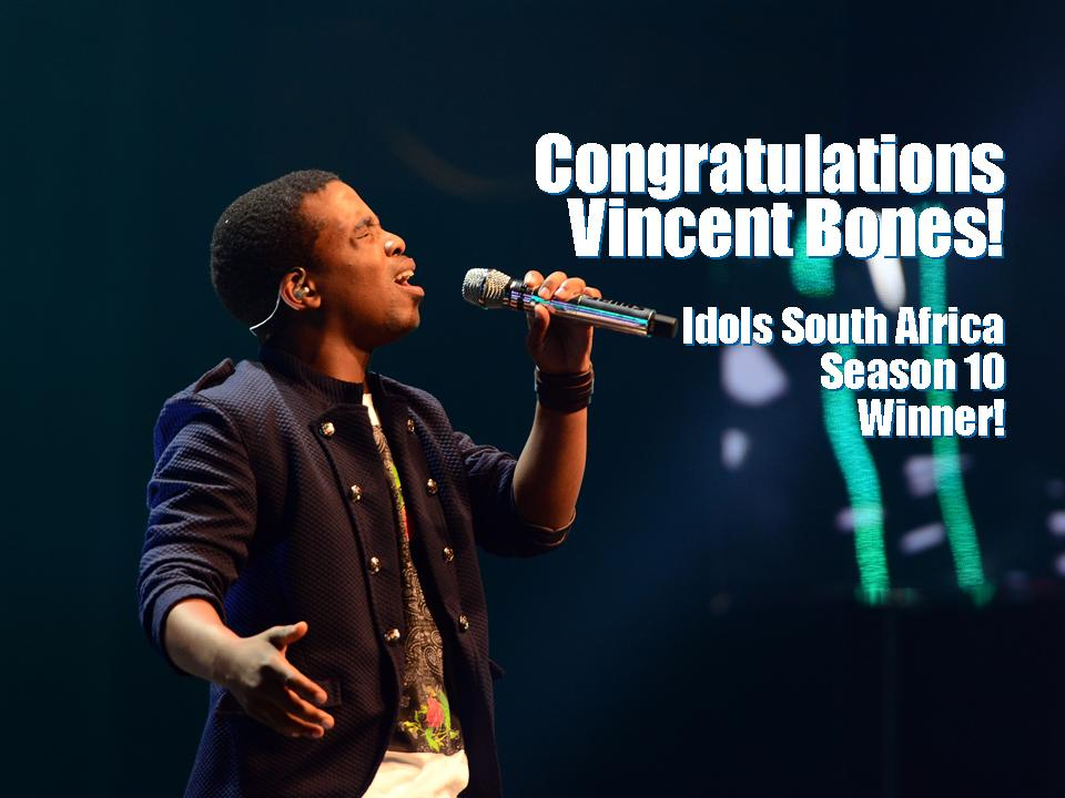 The winner of #IdolsSA season 10 is: #IdolsSAVincentB. Congratulations! http://t.co/Fz3e8MBPkA http://t.co/UKQzMlUfUs