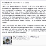 """Bothwell calls out @asheville Citizen-Times for """"campaign"""" against #Asheville PD. Not sure on this one. #avlnews http://t.co/ob0O7zVbua"""