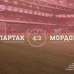 Матч «Спартак» — «Мордовия» завершен. Счёт 4:2, голы у нас забили Промес (2) и Жоао Карлос и Дзюба. С победой! http://t.co/g1vWa8MuPk