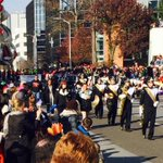 Stamford High School marching band followed by the Cat at #StamfordParade http://t.co/JmdH1smddn