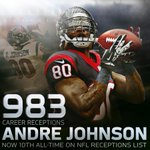 Andre Johnson now has 983 career catches, placing him 10th all-time in the @NFL. #FutureHallofFamer http://t.co/SBYjCmCs4i