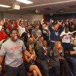 Pics from todays @LibertyFootball selection show watch party! #BeatJMU #GoFlames #FCSPlayoffs http://t.co/dfQjhlQtSr