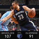 #Grizz win, 107-91! 6 #Grizzlies score in double digits. @MarcGasol finishes w/ 30 pts and 12 rebounds in the game. http://t.co/8PoeCk1wa7